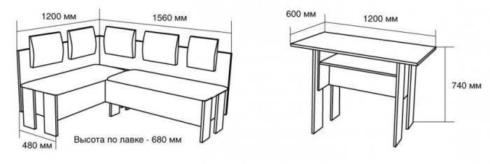 Уголок для кухни чертежи