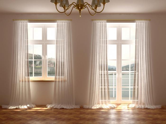 Дизайн штор в зал с балконом