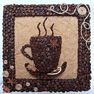 картины из кофейных зерен на кухню