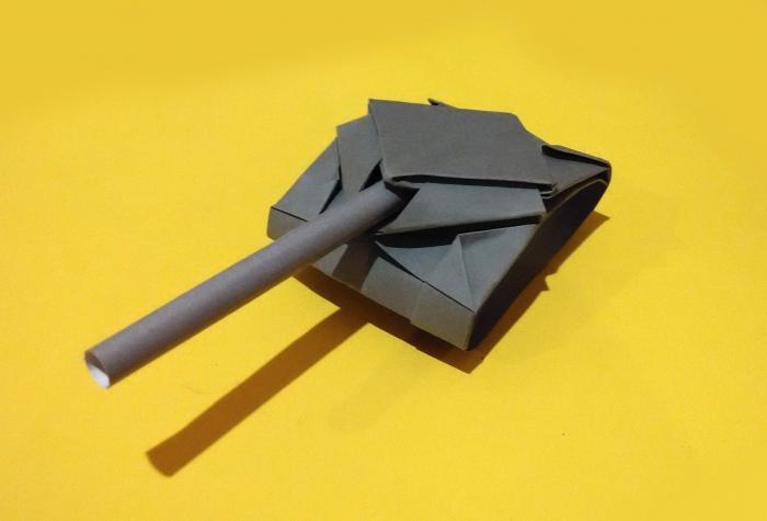Танк оригами из бумаги из модулей