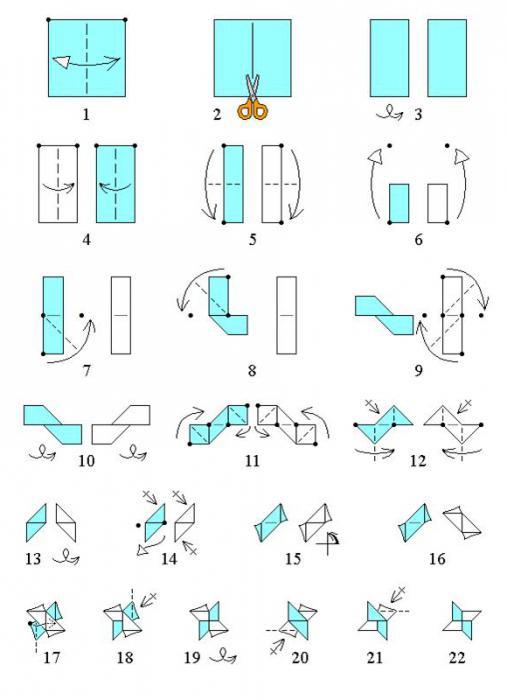 Оригами трезубец схема