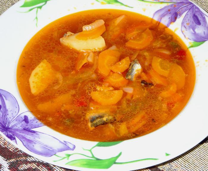Sprat soup in tomato sauce