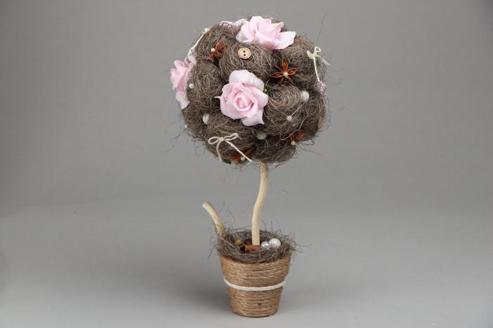 Декоративное дерево с цветами своими руками