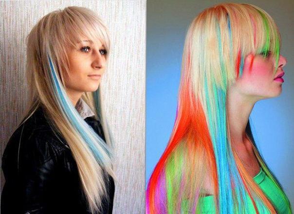 Цветная краска для прядей волос