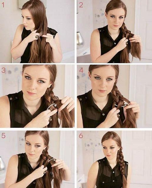 как заплести косу на бок самой себе