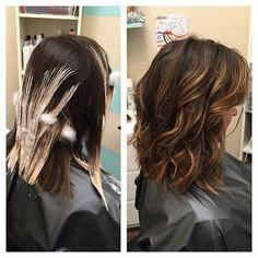 Калифорнийское мелирование на короткие темные волосы