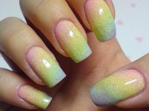 Градиент на ногтях в домашних условиях