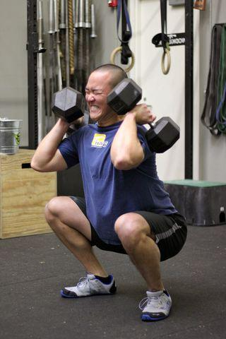 front squats with dumbbells
