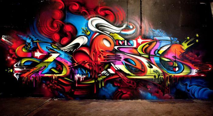 граффити на кирпичной стене