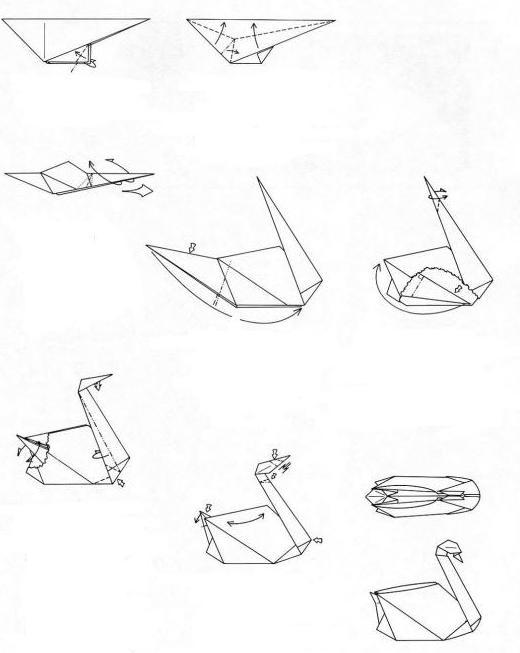 лебедь из бумаги своими руками оригами