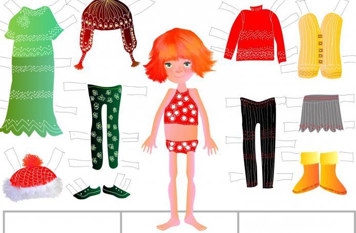 Кукла из бумаги с одеждой