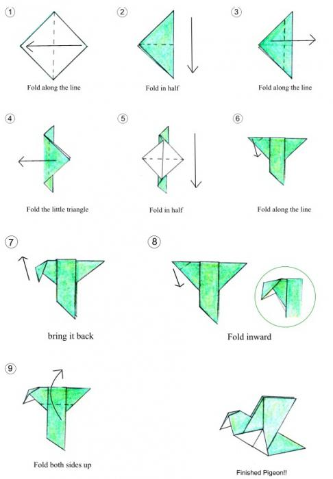 Как сделать из бумаги легкую птицу