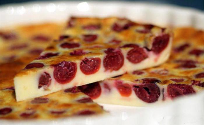 vanilla clafuti with cherry