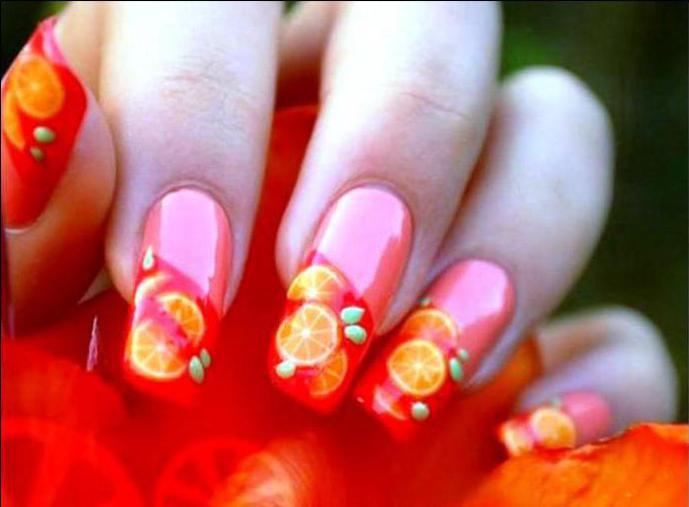 Нарощенные ногти летний вариант 95