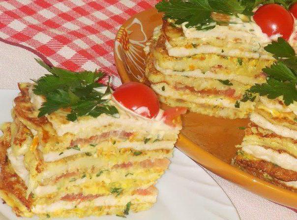кабачково сырный тортик с мясом