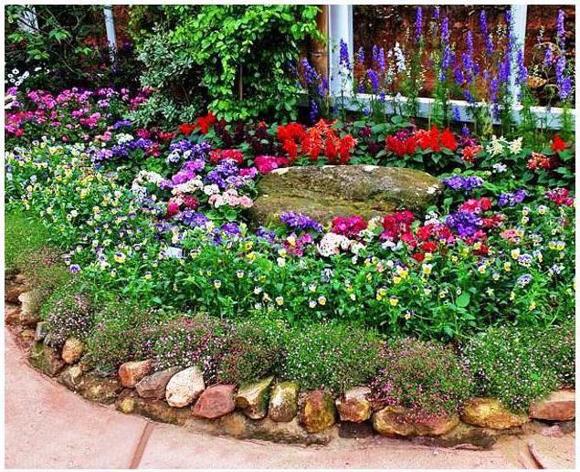дачный участок оформление цветами