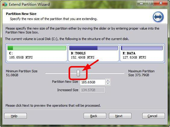 how to increase a disk with due to disk d