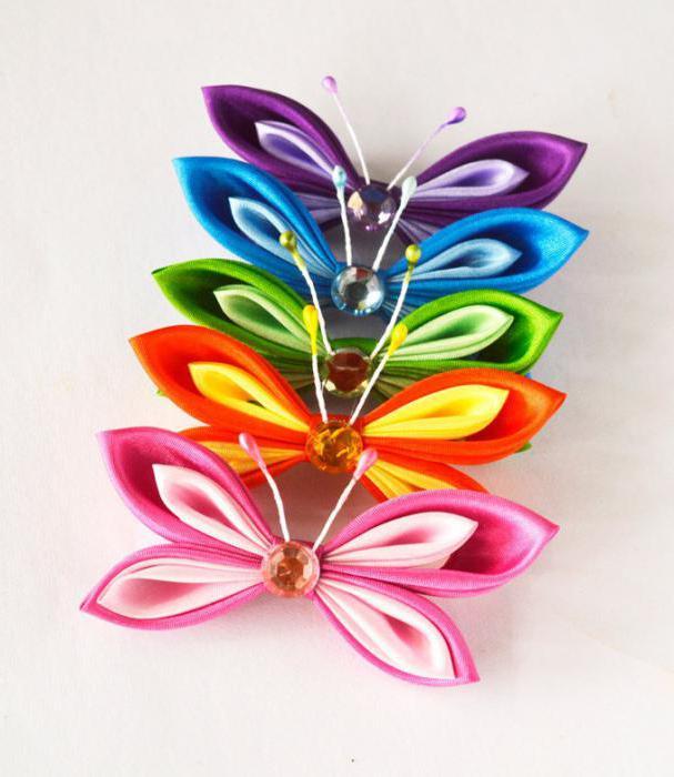 Бабочка из атласных лент своими руками канзаши