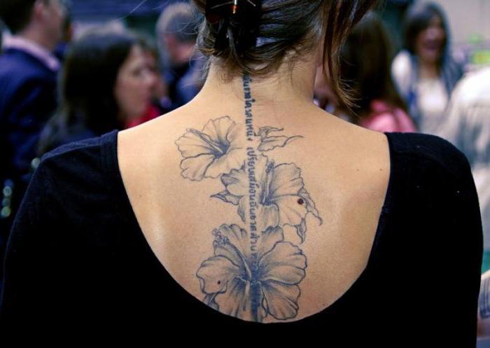 Женское тату на спине Фото