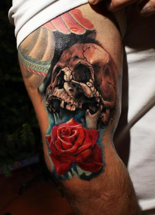 tattoo skull on his arm
