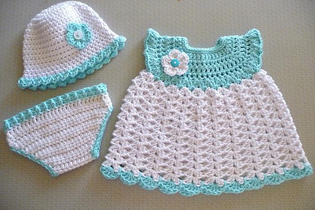 вязание крючком для девочек платье юбка шапочка пинетки Sylru