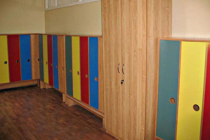 dressing room design in the younger group of kindergarten