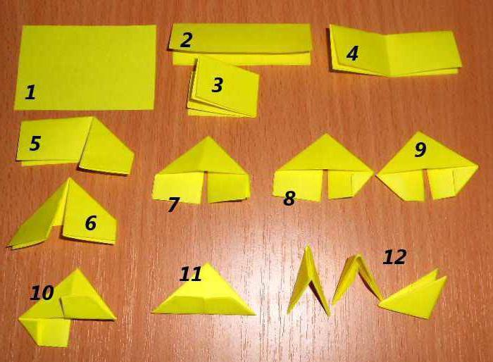схема объемное оригами сердце из