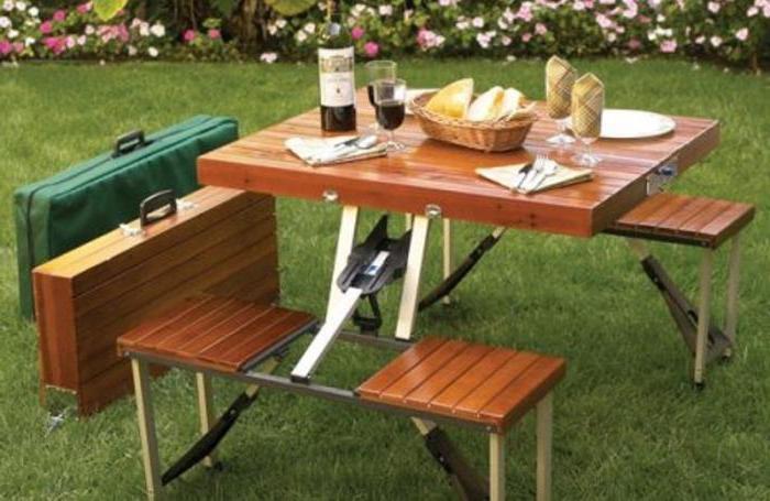 Складной стол и стулья для пикника своими руками из дерева