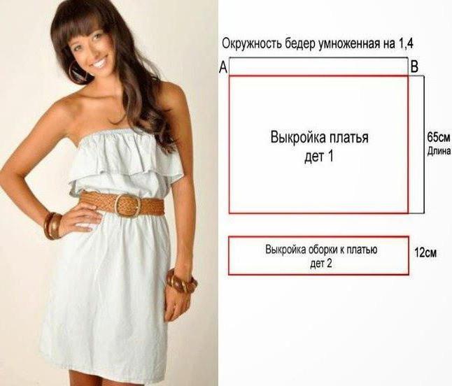 Платье с воланом на плечах выкройка своими руками