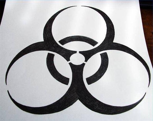 Знак радиации поэтапно 30