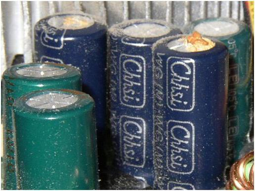Damage to different capacitors