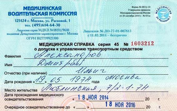 Медицинская справка права расковой Медицинская справка для соревнований Черёмушкинский проезд