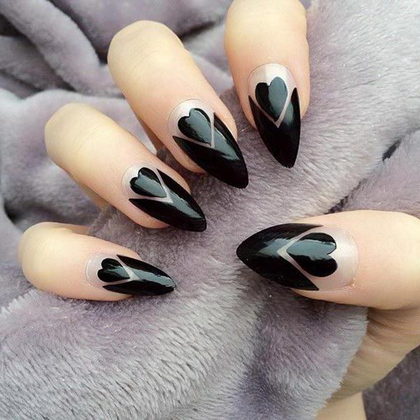 Ногти черные интересные