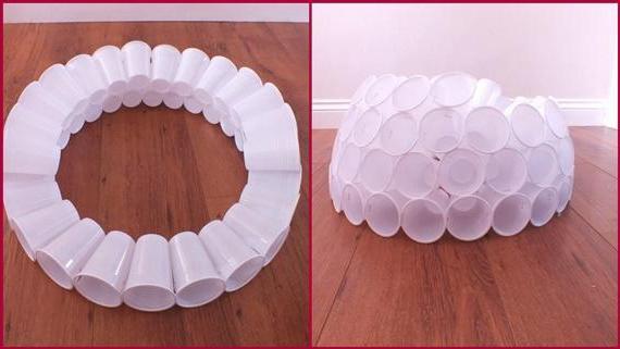 Из пластиковых стаканчиков своими руками снеговик 125