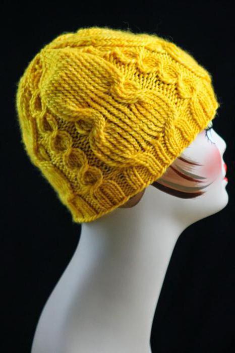 узоры для зимних шапок спицами