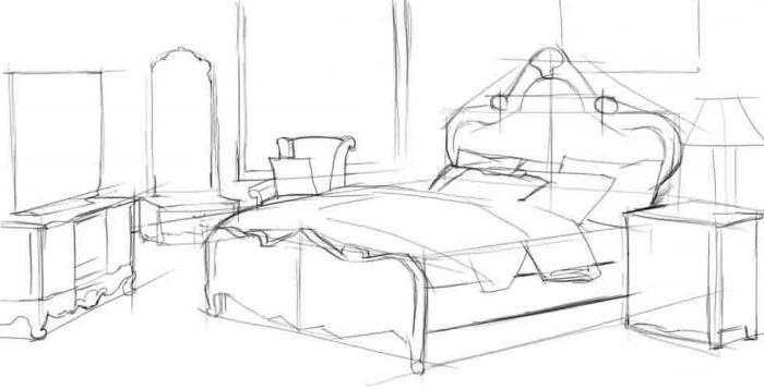 Как нарисовать комнаты с мебелью карандашом поэтапно