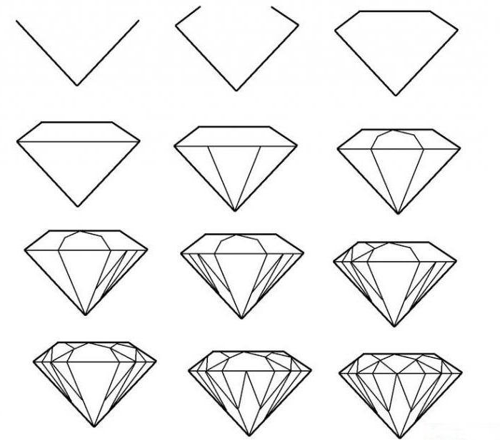 как нарисовать алмаз поэтапно