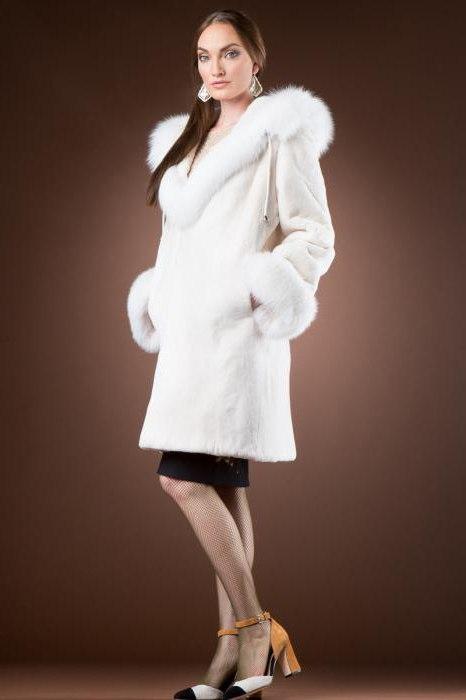 White beaver fur coat