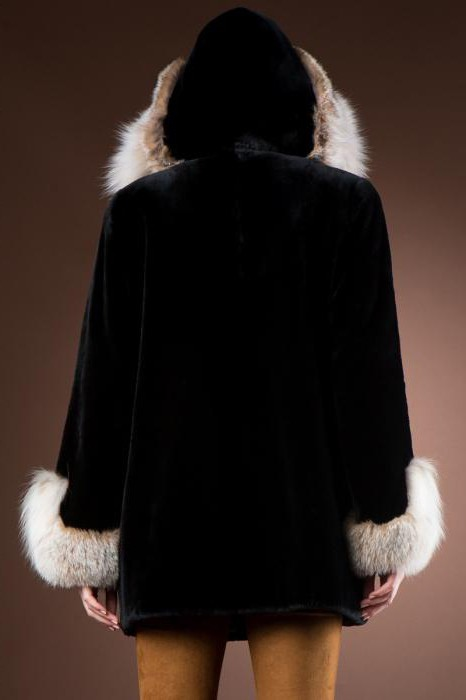 Fur coat of cropped beaver with a hood