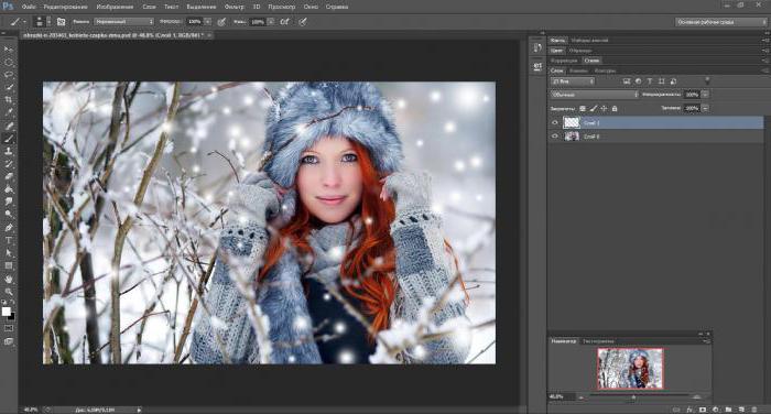 Как на фото сделать снег в фотошопе