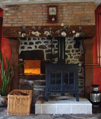 fireplace stove with hot water boiler