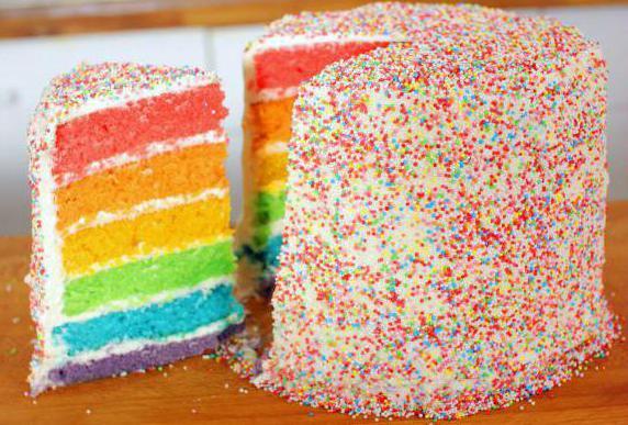 радужные коржи для торта