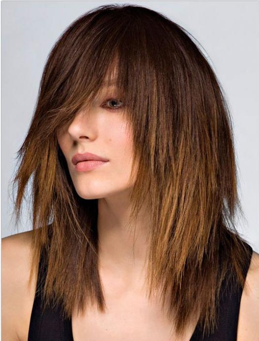стрижка каскад на длинные волосы с челкой