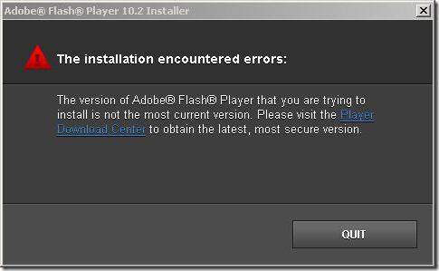 установщик adobe flash player ошибка инициализации приложения