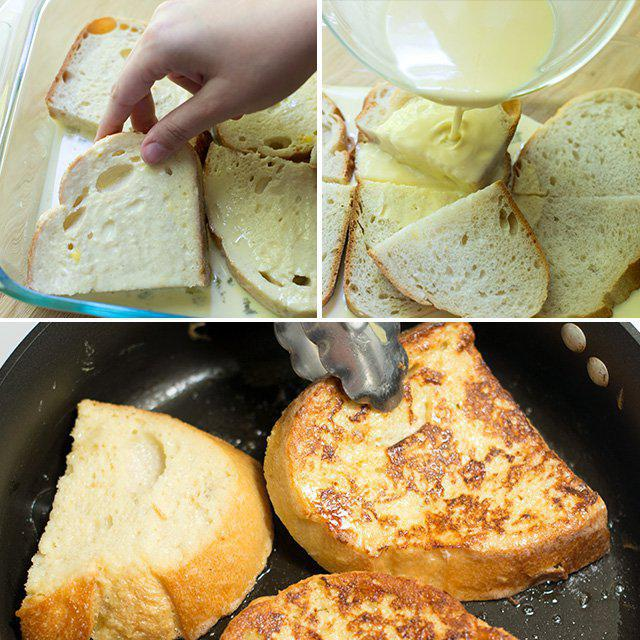 bread in egg with milk recipe with photos