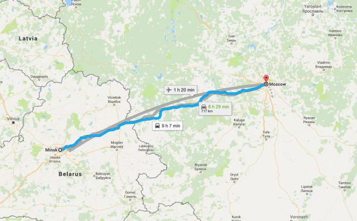 Minsk Moscow how many km on the highway