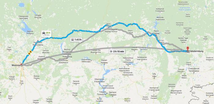 how many km from Yekaterinburg to Moscow