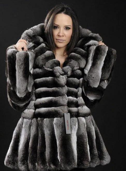 Chinchilla Rex rabbit fur coat
