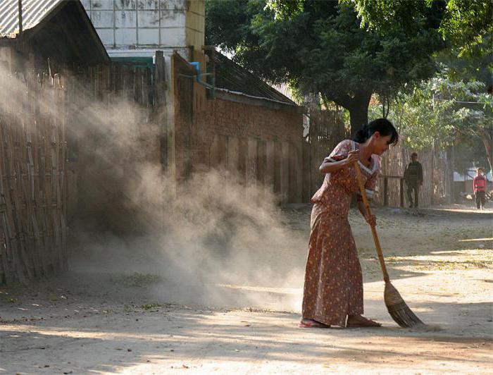 sweep with a broom