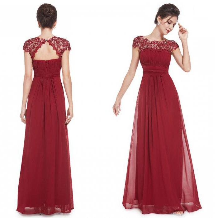 Вечернее платье вишневого цвета